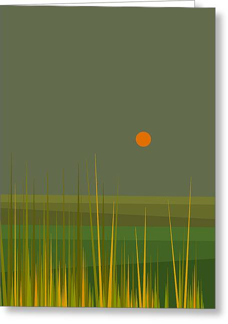 Green Fields After The Rain Greeting Card by Val Arie
