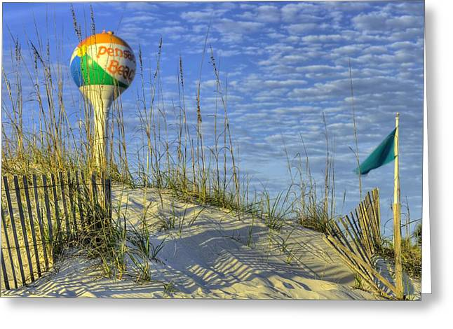 Green Flags On Pensacola Beach Greeting Card by JC Findley