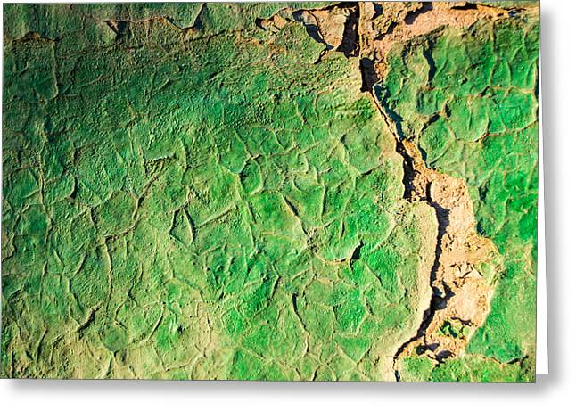 Green Flaking Brickwork Greeting Card