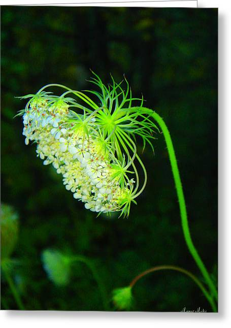 Marko Mitic Greeting Cards - Green Flower Greeting Card by Marko Mitic