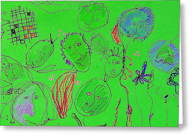 Green Flower People Greeting Card