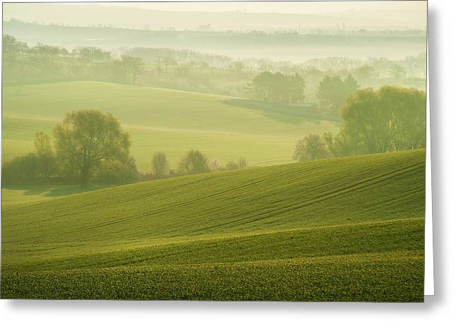 Green Foggy Waves Greeting Card by Jenny Rainbow