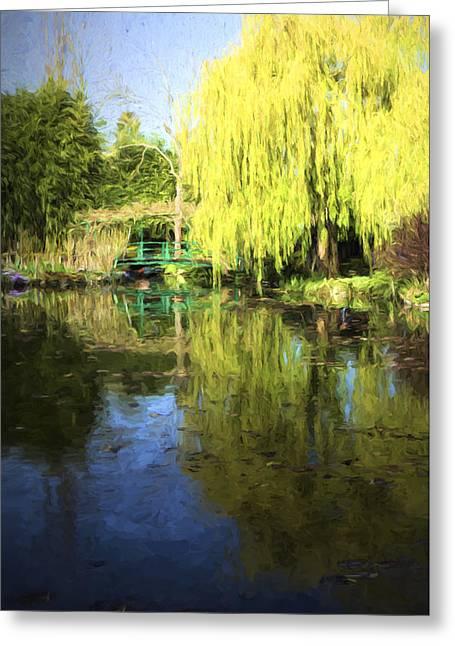 Green Footbridge In Monets Garden Greeting Card by David Smith