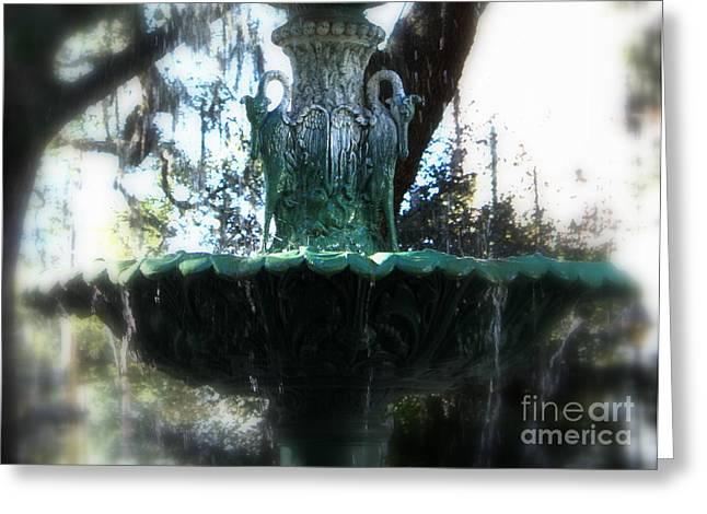 Green Fountain Greeting Card by Carol Groenen