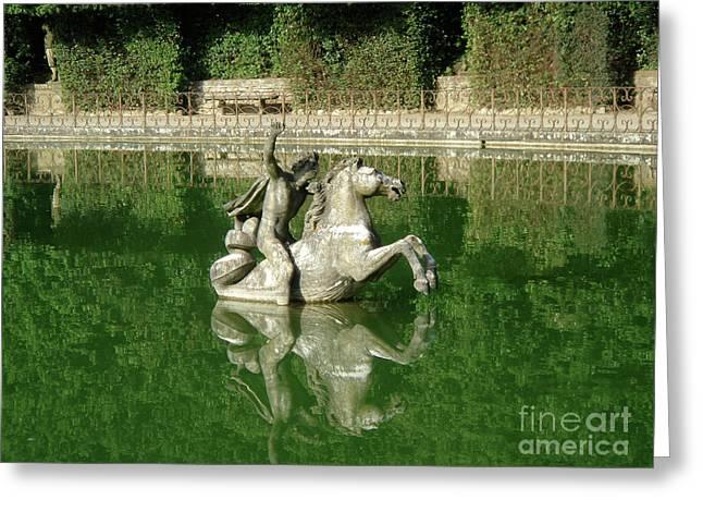 Green Fountain Greeting Card by David Shaffer