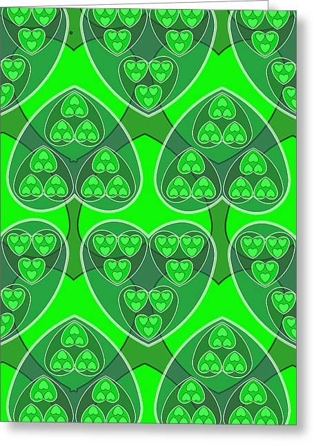 Green Fractal Hearts Greeting Card by Soran Shangapour