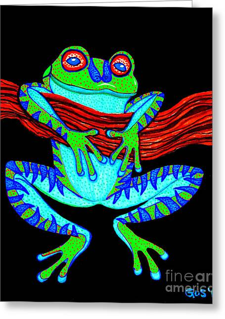 Green Frog Hanging On Greeting Card by Nick Gustafson