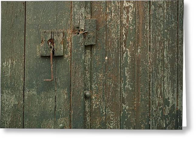 Green Garage Door Greeting Card
