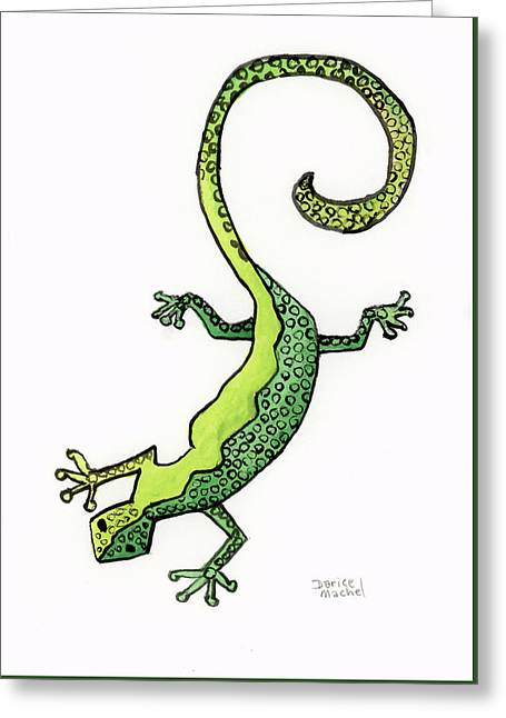 Greeting Card featuring the painting Green Gecko  by Darice Machel McGuire