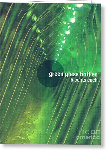 Greeting Card featuring the photograph Green Glass Bottles by Phil Perkins