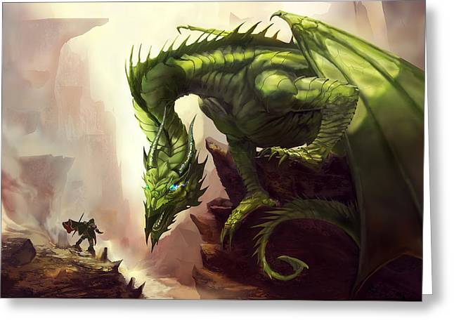 Green God Dragon Greeting Card by Anthony Christou
