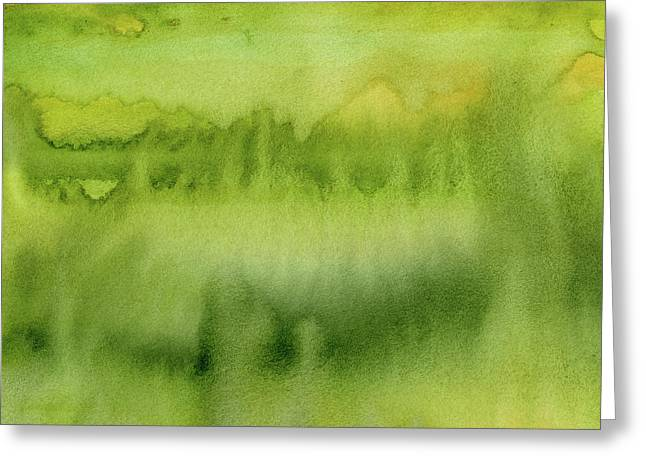 Green Gold Forest Abstract Watercolor Greeting Card
