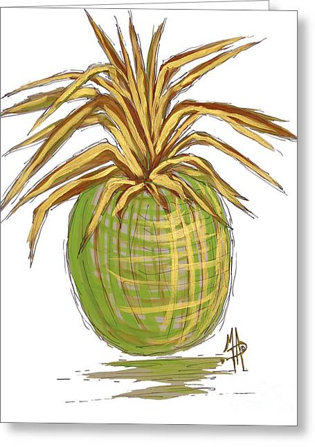 Green Gold Pineapple Painting Illustration Aroon Melane 2015 Collection By Madart Greeting Card