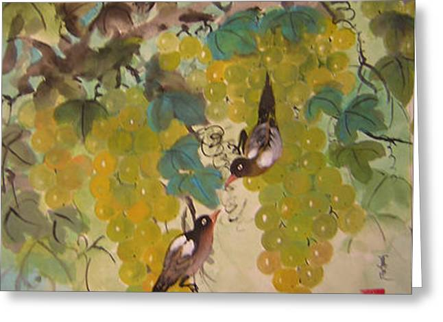 Green Grapes And Brown Birds Greeting Card by Lian Zhen