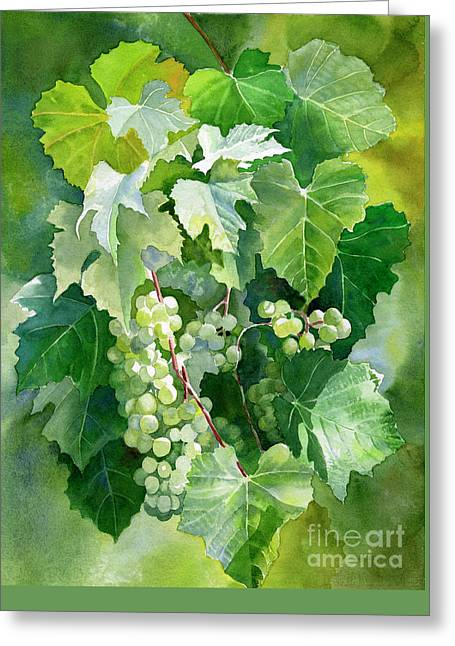 Green Grapes And Leaves Greeting Card by Sharon Freeman