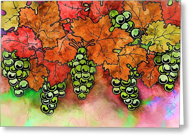 Green Grapes On The Vine - Vintage Wine Harvest - 2 In A Series Greeting Card by Rayanda Arts
