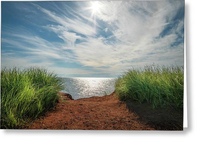 Greeting Card featuring the photograph Green Grass And Red Sand by Chris Bordeleau