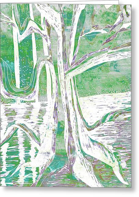 Green-grey Misty Morning River Tree Greeting Card