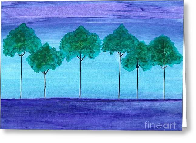 Line Of Trees Greeting Cards - Green Grove Greeting Card by Marsha Heiken