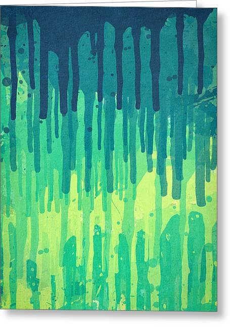 Green Grunge Color Splatter Graffiti Backstreet Wall Background Greeting Card