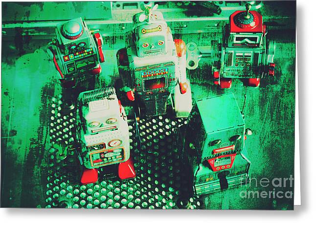 Green Grunge Comic Robots Greeting Card by Jorgo Photography - Wall Art Gallery