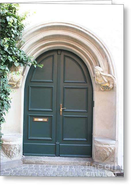 Green Guarded Door Greeting Card by Christiane Schulze Art And Photography