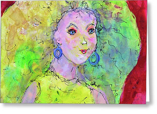 Greeting Card featuring the painting Green Hair Don't Care by Claire Bull