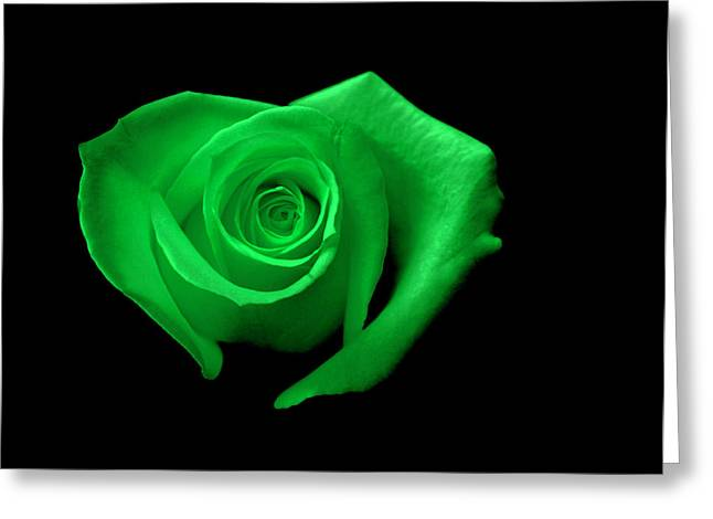 Green Heart-shaped Rose Greeting Card by Glennis Siverson