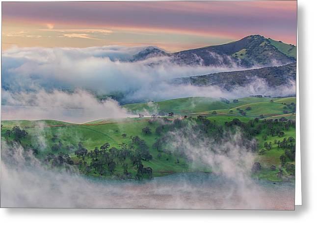 Green Hills And Fog At Sunrise Greeting Card