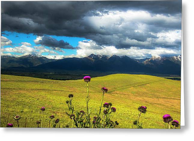 Green Hills And Stormy Skies Greeting Card