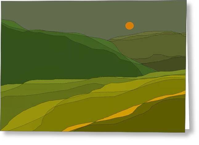Green Hills Greeting Card by Val Arie