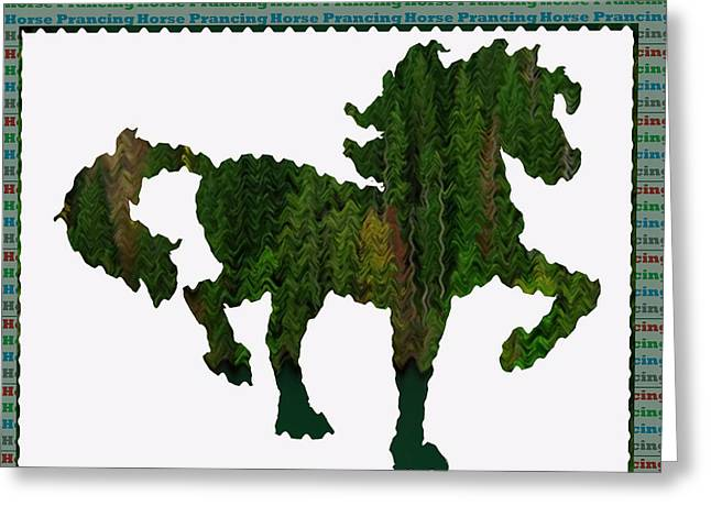 Kids Fun Gallery Horse Prancing Art Made Of Jungle Green Wild Colors Greeting Card