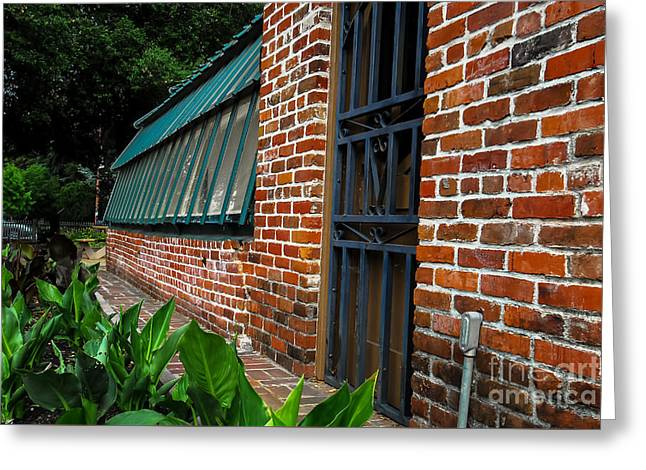 Green House Brick Wall Greeting Card