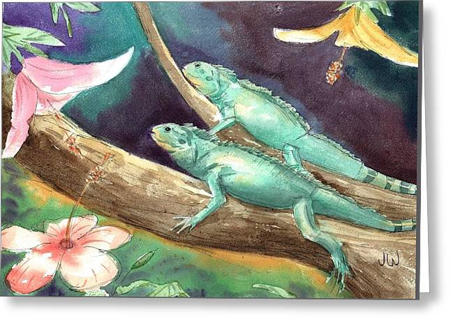 Greeting Card featuring the painting Green Iguanas Sunning by June Walker