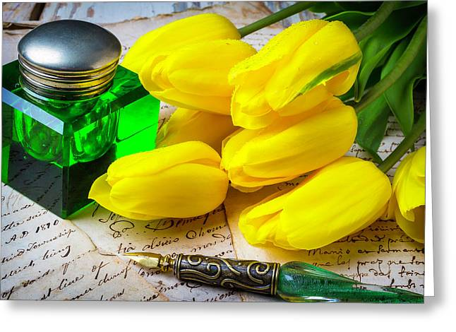Green Ink Well And Yellow Tulips Greeting Card by Garry Gay