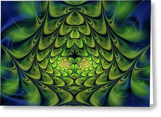 Greeting Card featuring the digital art Green Island by Jutta Maria Pusl