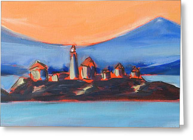 Greeting Card featuring the painting Green Island Lighthouse by Yulia Kazansky