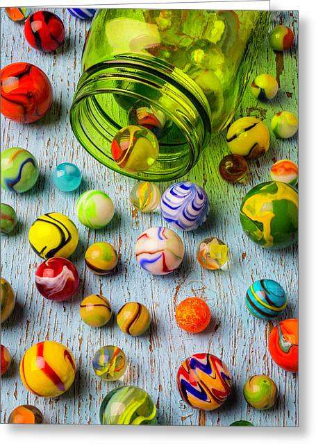Green Jar And Marbles Greeting Card
