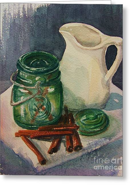Green Jar Greeting Card by Marilyn Smith