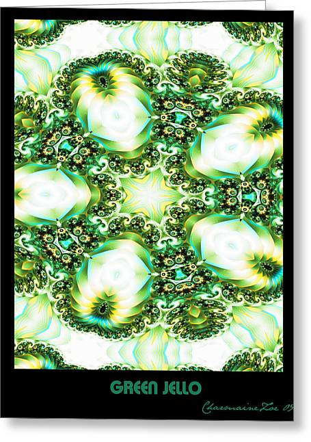 Greeting Card featuring the digital art Green Jello by Charmaine Zoe