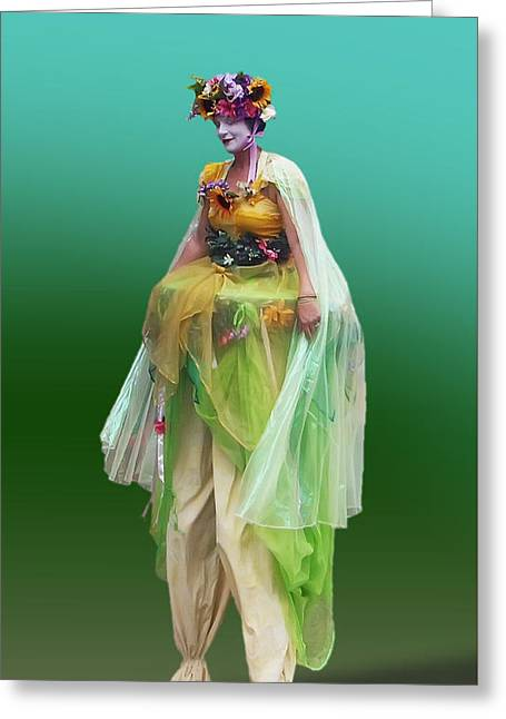 Green Lady On Stilts Greeting Card by Brian Wallace