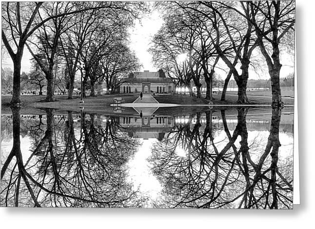 Green Lake Bathhouse Black And White Reflection Greeting Card by Pelo Blanco Photo