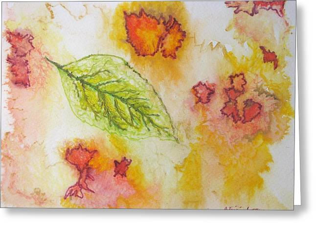 Greeting Card featuring the painting Green Leaf Of Fall by Patricia Arroyo