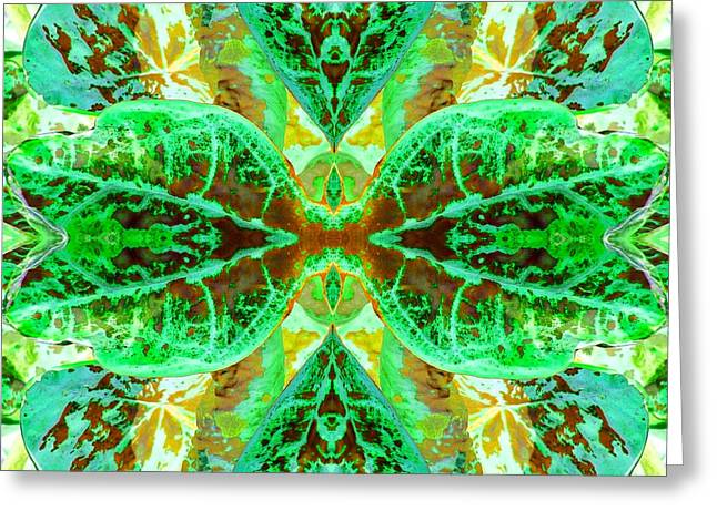 Green Leafmania 3 Greeting Card by Marianne Dow