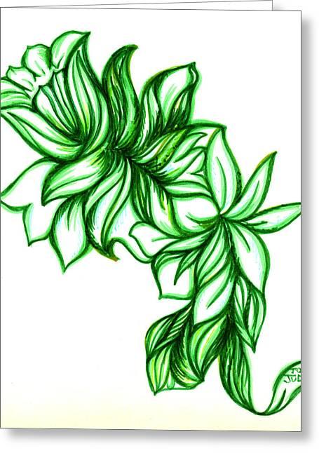 Green Leaves Greeting Card by Judith Herbert