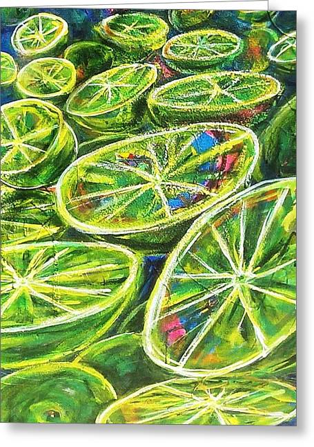 Green Limes Greeting Card by Unique Consignment