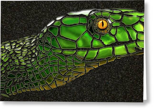 Green Mamba Snake Greeting Card by Michael Cleere