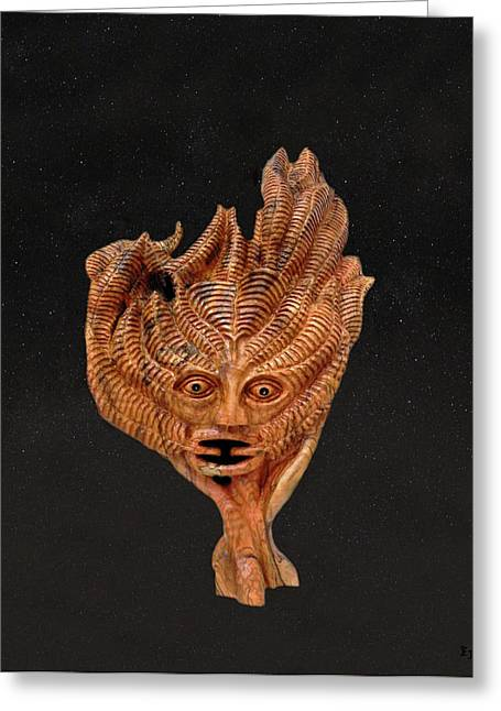 Olive Wood Sculpture Mixed Media Greeting Cards - Green Man in the stars Greeting Card by Eric Kempson