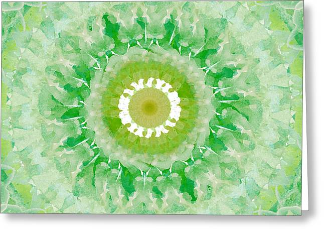 Green Mandala- Abstract Art By Linda Woods Greeting Card