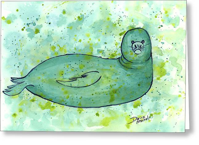 Greeting Card featuring the painting Green Monk Seal by Darice Machel McGuire